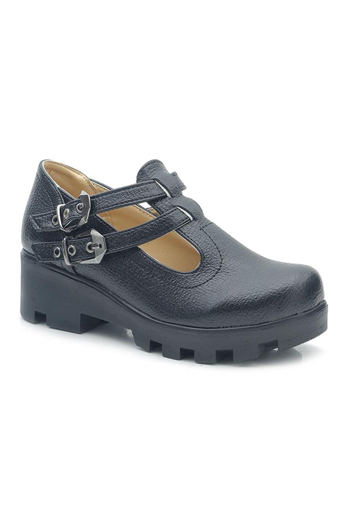 Kids World PR01 Kalın Taban Kız Çocuk Okul Ayakkabısı