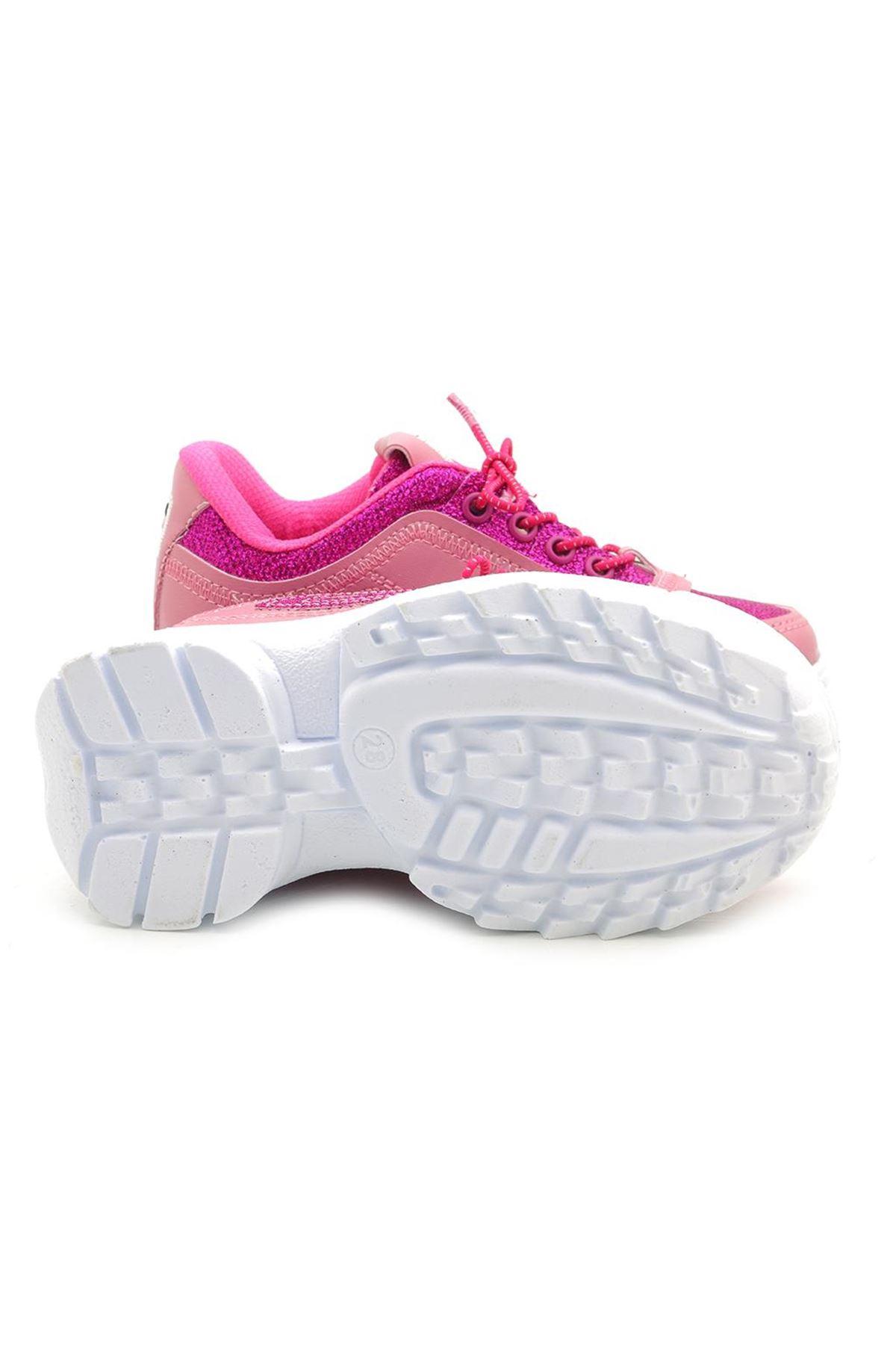 Kids World Fuşya Yüksek Taban Kız Çocuk Spor Ayakkabı