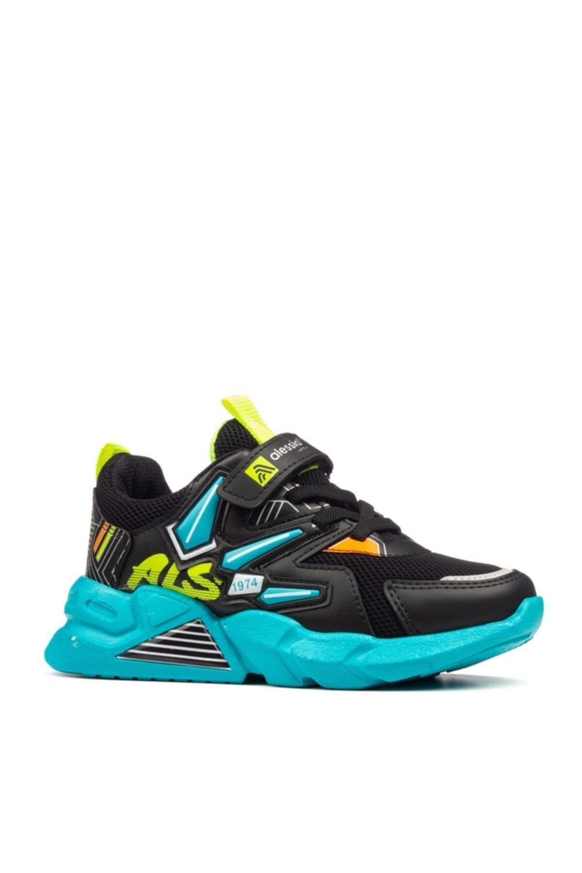 Unisex Çocuk Siyah Turkuaz Spor Ayakkabı